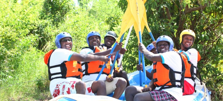 African Cotton team participating in white water rafting challenge where the company made a major donation to Faraja Cancer Support Trust